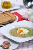 Soupe à ail avec l'oeuf poché photos stock