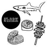 Soupe à aileron de requin de fruits de mer, brochettes de chair de requin illustration stock
