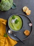 Soupe à brocoli avec du pain grillé et brocoli et cuillère crus sur le fond gris photo libre de droits