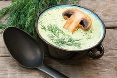 Soupe à champignons crémeuse photo libre de droits