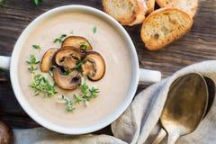 Soupe à champignons crémeuse avec des champignons de paris photos stock