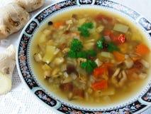 Soupe à champignons de nouilles avec la moule Photo libre de droits