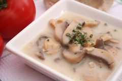 Soupe à champignons fraîche Images stock