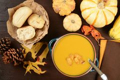 Soupe à courge de Butternut Photographie stock