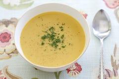 Soupe à courge de Butternut de noix de coco de cari Photos stock