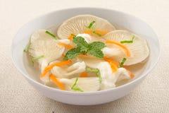 Soupe à espace libre de champignon d'huître Image stock