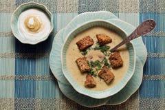 Soupe à fromage avec les biscuits et la sauce à moutarde Photos libres de droits
