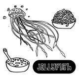 Soupe à fruits de mer des méduses Méduses de mer de illustration stock