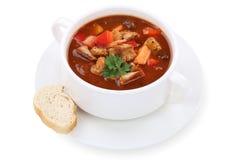 Soupe à goulache avec de la viande et le paprika dans la tasse Images libres de droits
