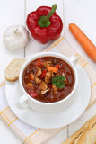 Soupe à goulache avec la baguette, la viande et le paprika dans la tasse Photos stock