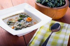 Soupe à haricot blanc et à chou frisé Photos libres de droits