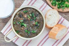Soupe à haricot noir et à jambon dans la cuvette en aluminium sur la table en bois, vue horizontale et supérieure Image stock