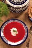 Soupe à la betterave de borscht russe ukrainien traditionnel avec s blanc Photographie stock libre de droits
