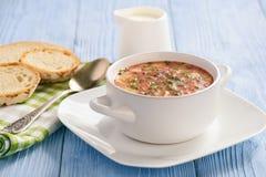 Soupe à la betterave froide faite maison sur le fond bleu Image libre de droits