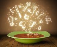 Soupe à la maison à cuisinier avec les icônes blanches tirées par la main Image libre de droits