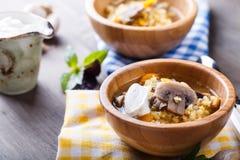 Soupe à lentille avec des champignons Images stock