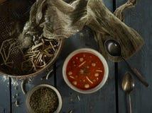 Soupe à lentille avec la nouille photos libres de droits