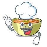 Soupe à lentille de Cartoon de chef prête à servi illustration stock