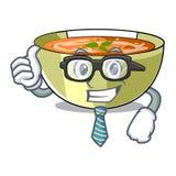 Soupe à lentille de Cartoon d'homme d'affaires prête à servi illustration libre de droits