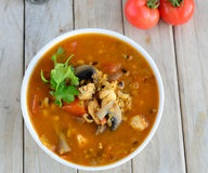 Soupe à lentille de poulet Image stock