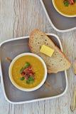 Soupe à lentille et à lard Images stock