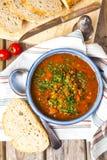 Soupe à lentille et à tomate photo stock