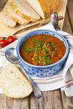 Soupe à lentille et à tomate image stock