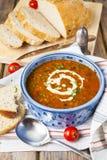 Soupe à lentille et à tomate photos libres de droits