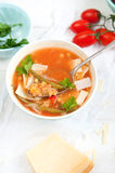 Soupe à minestrone de lentille Images stock