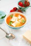 Soupe à minestrone de lentille Photographie stock libre de droits