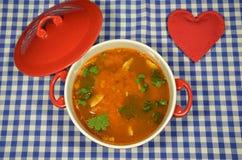 Soupe à poissons et un coeur Image libre de droits