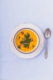 Soupe à potiron avec des graines de citrouille et des poivrons de piment photo libre de droits