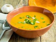 soupe à potiron avec des verts et graines en plat brun et demi potiron de coupe, ail, Images stock