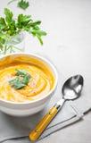 Soupe à potiron avec le fond de persil Photographie stock libre de droits