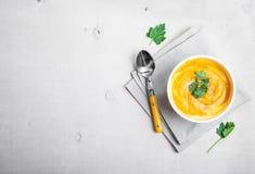 Soupe à potiron avec le fond de persil Image libre de droits