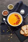 Soupe à potiron dans le plat blanc avec l'épice sur le fond foncé images libres de droits