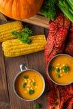 Soupe à potiron servie avec le maïs et le persil et les légumes frais photographie stock