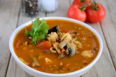 Soupe à poulet et à champignons Photographie stock