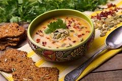 Soupe à rame de ¡ de Ð de courge avec le thym, paprika, graines de citrouille, persil et avec des biscuits de seigle Photographie stock libre de droits