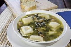 Soupe à ravioli et à Kielbasa Images libres de droits
