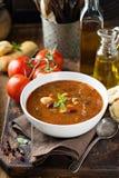 Soupe à tomate avec des haricots et des pâtes Images libres de droits