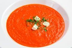 Soupe à tomate avec les herbes et le fromage Photos libres de droits
