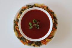 Soupe à tomate, soupe crème à tomate, Photographie stock