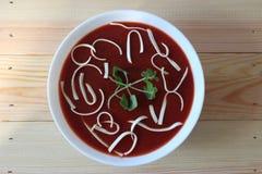 Soupe à tomate, soupe crème à tomate, Images stock