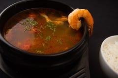 Soupe à tomyum de crevette rose Images libres de droits