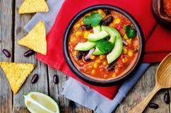 Soupe à tortilla de haricot rouge de Chipotle images libres de droits