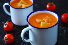 Soupe à vegan de tomate de pomme de carotte photos libres de droits