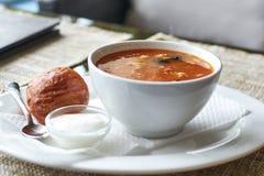 Soupe à viande avec des butées toriques Photographie stock libre de droits