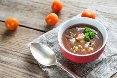 Soupe épicée à tomate avec des fruits de mer Images stock