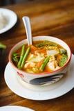 Soupe épicée aigre chaude traditionnelle locale thaïlandaise orange rouge à cari images stock